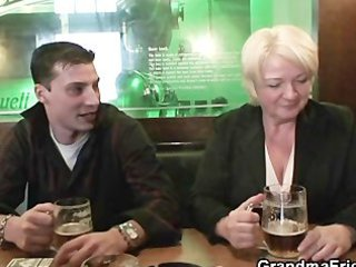 sexy three-some with completely drunk granny