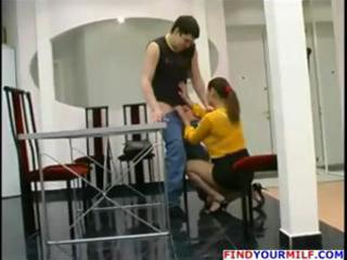 aged russian mamma catches boy jerking off and