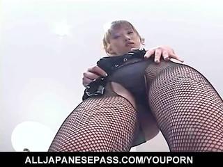orny japanese av model disrobes out of her