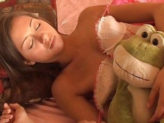 sleeping brunette legal age teenager in teasing