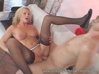 blond wife tasting the cum