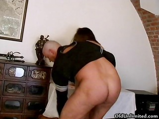 big beautiful woman brunette hair gets drilled in