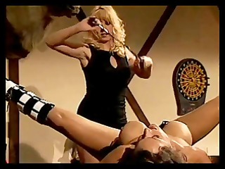 babe acquires teat clamps and pussy flogging