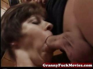 granny sucking and pounding hirsute cum-hole