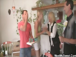 wicked youthful blond girlfriend bonks his