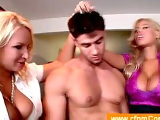 cougar coaches her friend in threesome