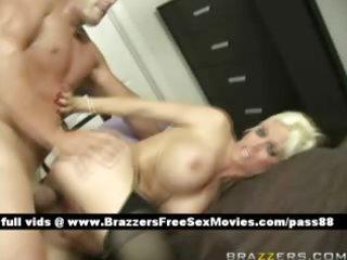 older blond wife in sofa gets her juicy love