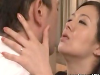 older oriental mother i giving a kiss with voyeur