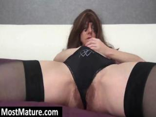 wearing three-some black nylons a hawt mother i