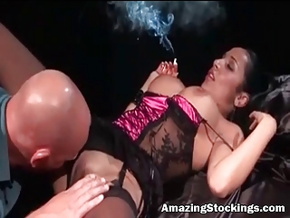 smocking milf in sexy lingerie and nylons