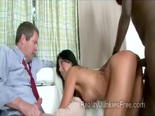 beautiful brunette hair housewife pumped in front