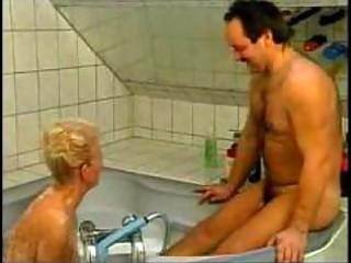 wicked german grandma drilled in bathtub amateur