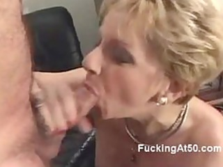 horny blond granny blows a cock and groans when