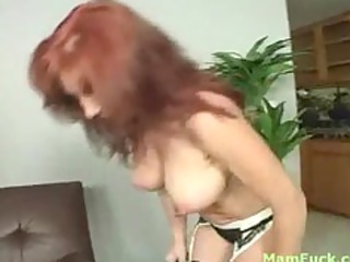 nice-looking redhead mom shows arse daughter how