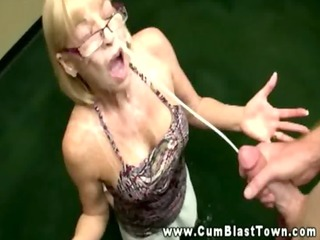 aged wench eagerly tugs his rod for his cum blast