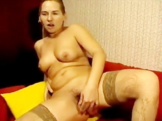 russian mama fucks her curly slit with toy on web