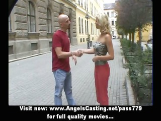 sporty blond sweet talking with large boy in