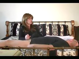 mistresse got her hands on mans cock and her feet