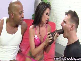 cuckold loving cougar sucks on cock