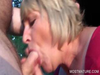 outdoor oral-job with blond older
