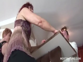 kinky aged bitches pole dancing in group sex