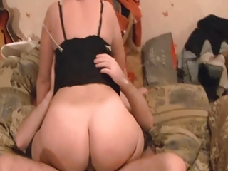 hubby watching his large ass slut wife ride on