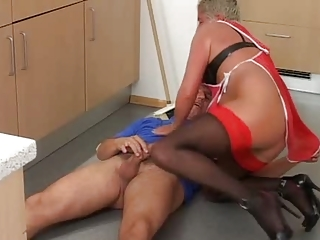 grey haired granny in red top nylons cleans up
