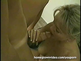 slutty blonde milf takes cock and creampie