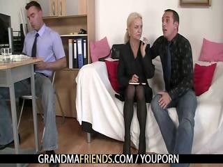 old blonde takes knobs