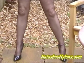 english milf outdoors in micro mini skirt fully