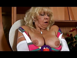 granny in white nylons plays with slit