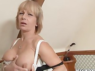 older british blond stuffs slit with bulky