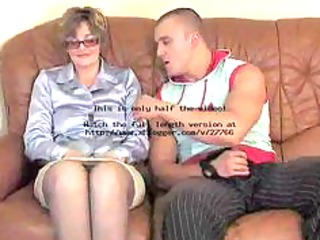 mature in nylons and glasses copulates