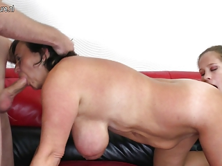 hot grandma and milf in old n youthful three-some