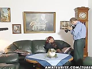 redhead non-professional milf sucks knob with cum